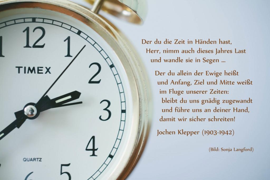 Uhr mit Zitat von Jochen Klepper