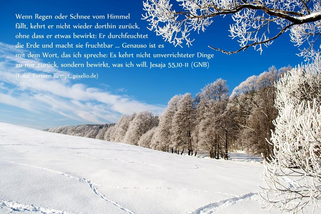 Schneelandschaft und Bibelwort aus Jesaja 55,10-11